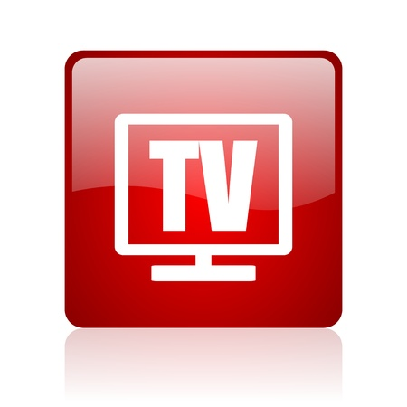 tv red square glossy web icon on white background  photo