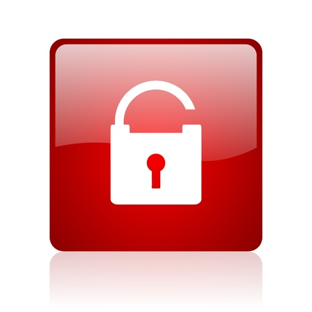 padlock red square glossy web icon on white background Stock Photo - 17671359