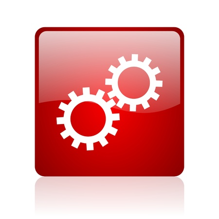 option key: gears red square glossy web icon on white background