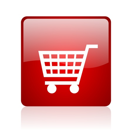 shopping cart red square glossy web icon on white background