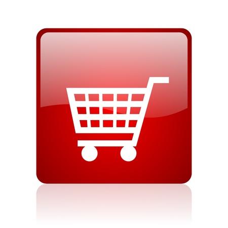 Warenkorb rotes Quadrat glossy Web-Symbol auf weißem Hintergrund