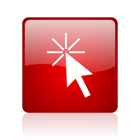 click here red square glossy web icon on white background Stock Photo - 17671572