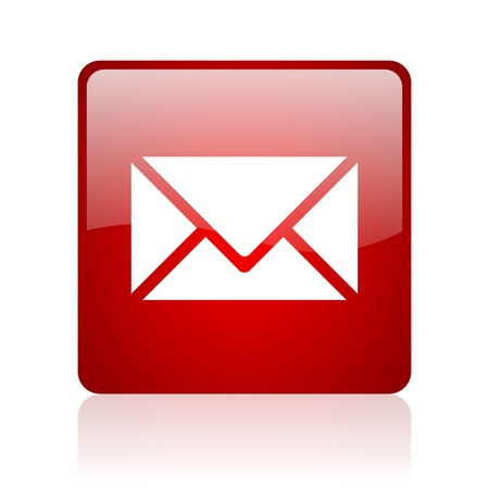 mail red square glossy web icon on white background  photo
