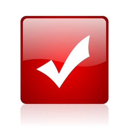 akzeptieren, rotes Quadrat glossy Web-Symbol auf weißem Hintergrund