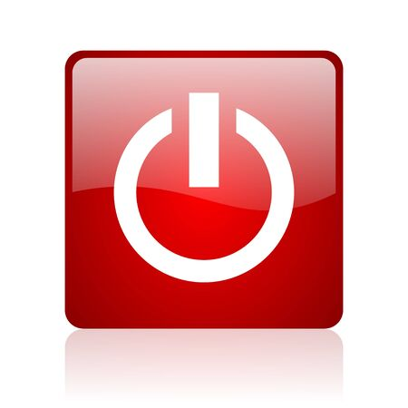 power red square glossy web icon on white background Stock Photo - 17671590