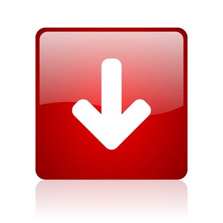 boton flecha: flecha hacia abajo roja icono cuadrado web brillante sobre fondo blanco Foto de archivo