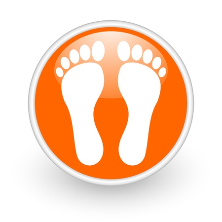 footprint orange circle glossy web icon on white background  photo