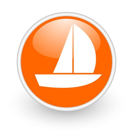 yacht orange circle glossy web icon on white background  photo