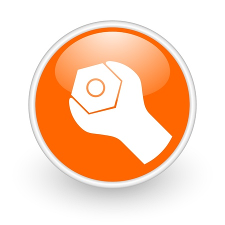 tools orange circle glossy web icon on white background  photo
