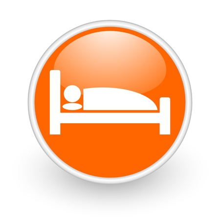 hotel orange circle glossy web icon on white background  photo