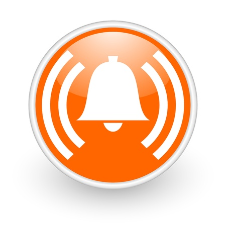 signal device: alarm orange circle glossy web icon on white background  Stock Photo
