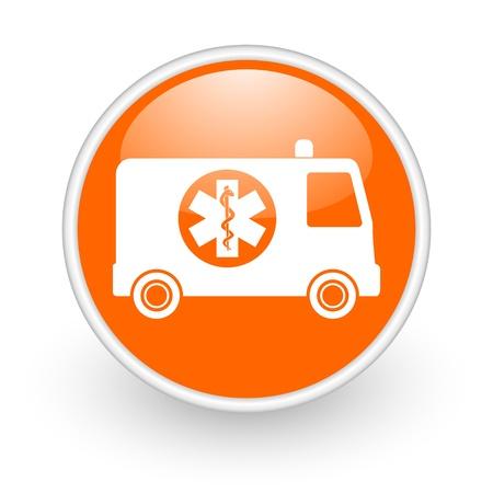 ambulance orange circle glossy web icon on white background Stock Photo - 17761365