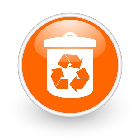 recycle orange circle glossy web icon on white background