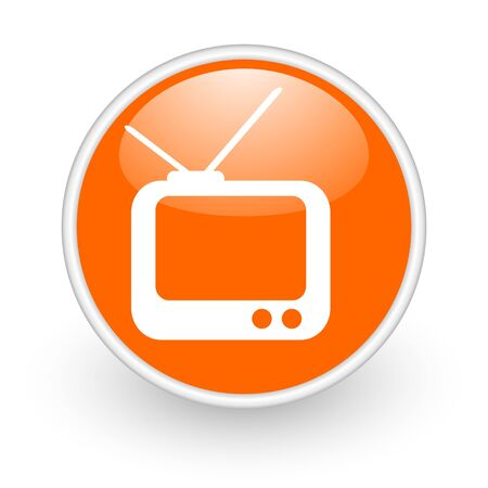 tv orange circle glossy web icon on white background  photo