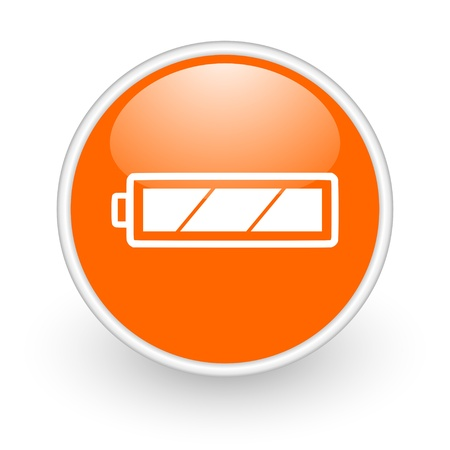 battery orange circle glossy web icon on white background  photo
