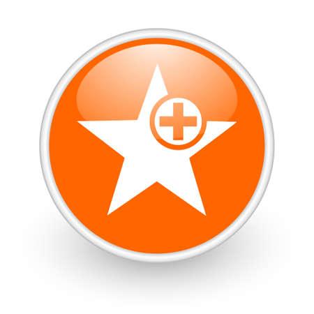 star orange circle glossy web icon on white background Stock Photo - 17761227