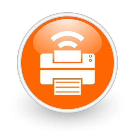 print orange circle glossy web icon on white background  photo