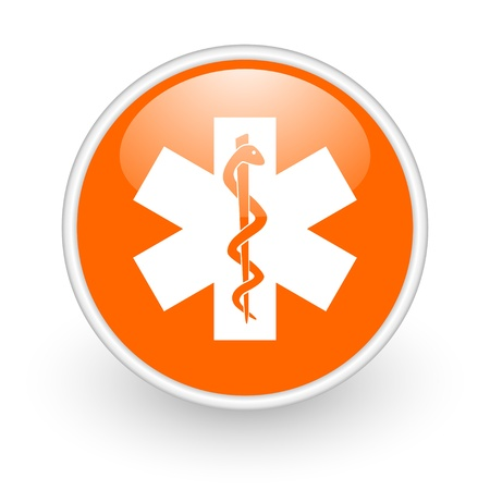 caduceus orange circle glossy web icon on white background