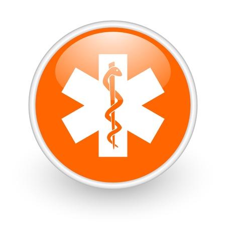caduceus orange circle glossy web icon on white background Stock Photo - 17761258