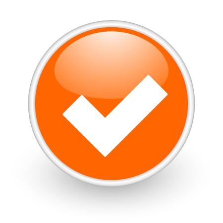 accept: accept orange circle glossy web icon on white background
