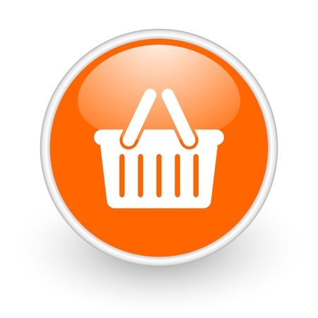 shopping cart orange circle glossy web icon on white background  photo