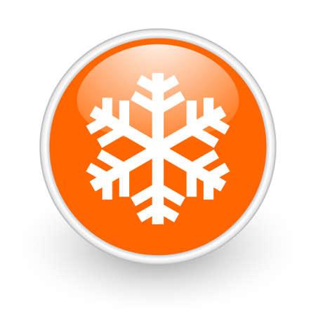 snowflake orange circle glossy web icon on white background Stock Photo - 17761368