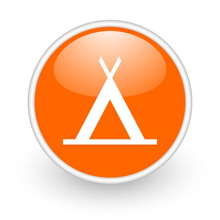 camping orange circle glossy web icon on white background  photo