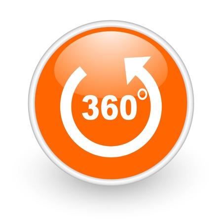 360 degrees panorama orange circle glossy web icon on white background  photo