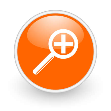 magnification orange circle glossy web icon on white background