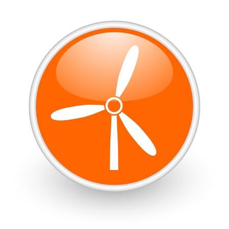 windmill orange circle glossy web icon on white background Stock Photo - 17761210
