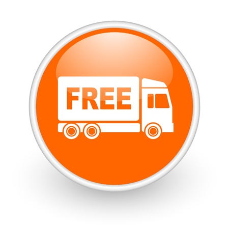 free delivery orange circle glossy web icon on white background  photo