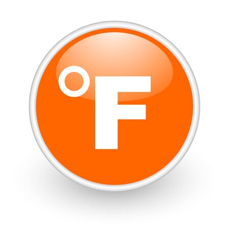 fahrenheit: fahrenheit icono naranja brillante c�rculo web sobre fondo blanco