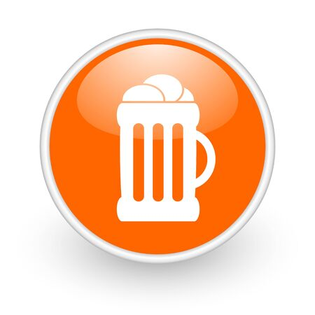 beer orange circle glossy web icon on white background