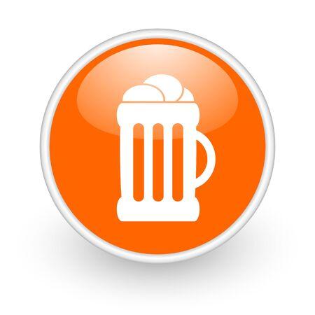 beer orange circle glossy web icon on white background Stock Photo - 17761205