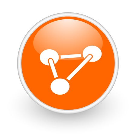 chemistry orange circle glossy web icon on white background  photo