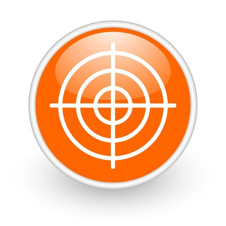target orange circle glossy web icon on white background