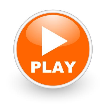 play orange circle glossy web icon on white background Stock Photo - 17761157