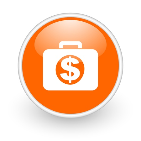 financial orange circle glossy web icon on white background Stock Photo - 17761180
