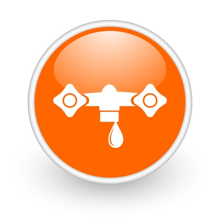 water orange circle glossy web icon on white background  photo