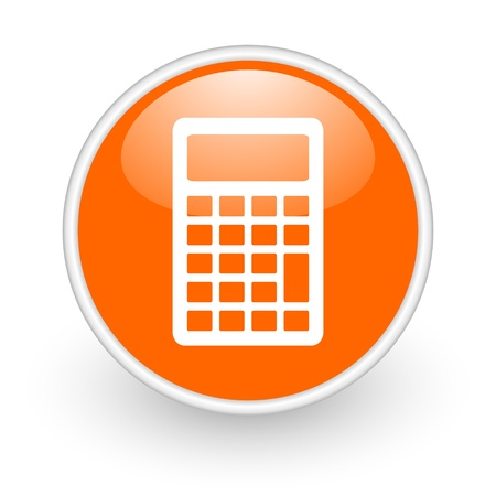 calculator orange circle glossy web icon on white background  photo