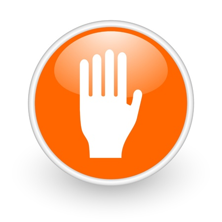 stop orange circle glossy web icon on white background Stock Photo - 17761096