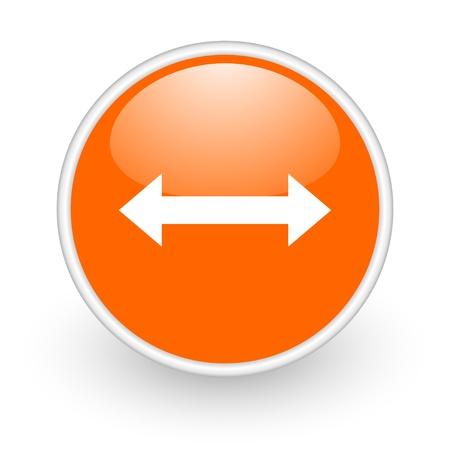 move arrow icon: arrows orange circle glossy web icon on white background