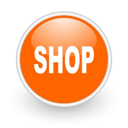 shop orange circle glossy web icon on white background Stock Photo - 17761211
