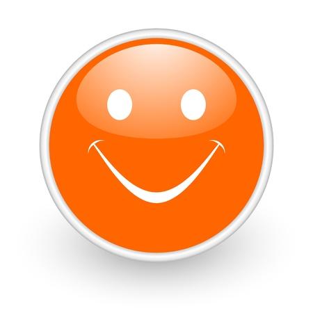 smile orange circle glossy web icon on white background Stock Photo - 17761186