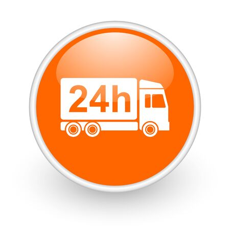 delivery 24h orange circle glossy web icon on white background  photo