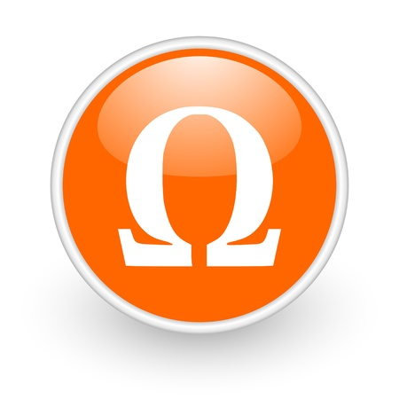 omega orange circle glossy web icon on white background  photo
