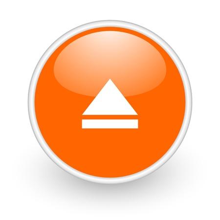 eject orange circle glossy web icon on white background Stock Photo - 17761090