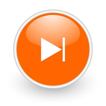 next orange circle glossy web icon on white background Stock Photo - 17761086
