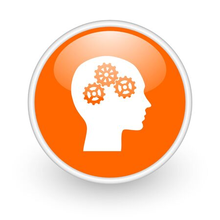 gear head: head orange circle glossy web icon on white background  Stock Photo
