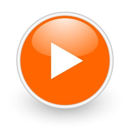 play orange circle glossy web icon on white background Stock Photo - 17761079